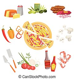 Pizza Ingredients And Cooking Utensils Set Vector...
