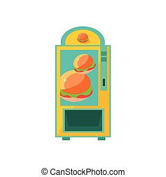 Burger Vending Machine Design In Primitive Bright Cartoon...