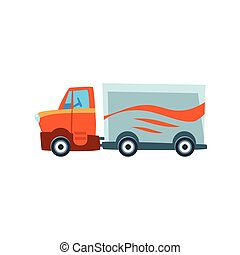 Long-Distance Cargo Truck Toy Cute Car Icon. Flat Vector...