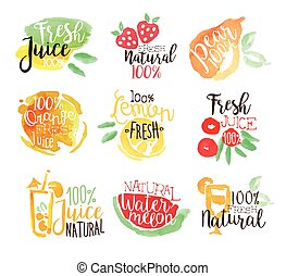 Percent Fresh Juice Promo Signs Colorful Set - Fresh Juice...