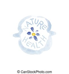 Nature Health Beauty Promo Sign Watercolor Stylized Hand...