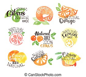 Fesh Citrus Juice Promo Signs Colorful Set Of Watercolor...