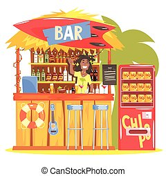 Beach Bar In Tropical Style Design With Smiling Resta Barman...