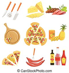 Pizza Ingredients And Cooking Utensils Collection. Vector...
