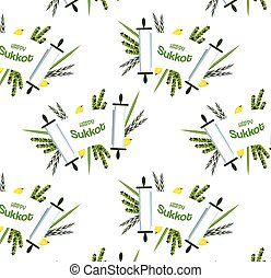 pattern for Jewish holiday Sukkot torah with Lulav, ,Etrog,...