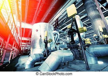 Industrial zone, Steel pipelines in blue tones - Equipment,...