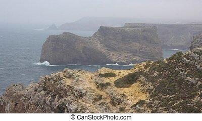 Coastal Cliffs On  Foggy Day