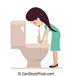 person sick with vomiting vector illustration design