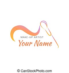Makeup brush with curved line. Abstract design concept for...