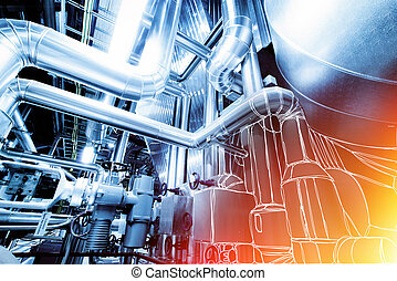 Illustration of Equipment, cables and piping inside power...