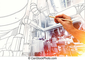 man's hand draws a design of factory combined with photo of...