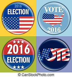 Election 2016 badge set with unites states of america flag....