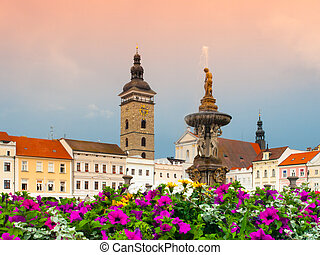 Black Tower and Samson's Fountain in Ceske Budejovice