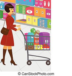 Shopping - An illustration of a pretty woman, who is...
