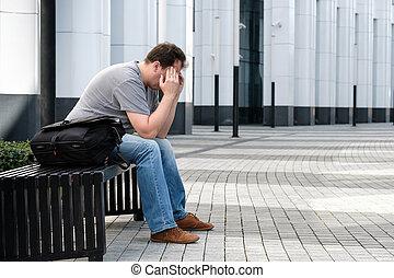 Sad middle age man portrait
