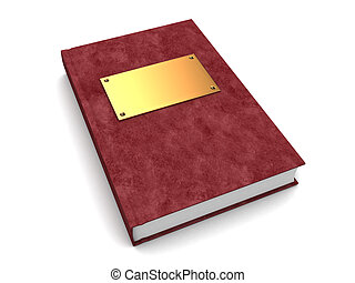 3d book - 3d illustration of book with leather and golden...