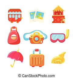 Travelling Related Objects Colorful Simple Icons -...