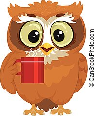 Owl drinking a cup of coffee - Vector Illustration of an Owl...