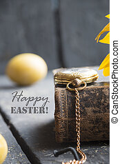 happy easter card - easter egg with happy easter word and...