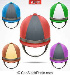 Set of Classic Jockey helmets for horseriding athlete Front...