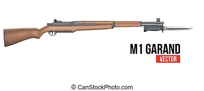 Rifle M1 Garand with knife bayonet Vector - M1 Garand...