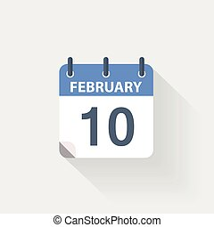 10 february calendar icon on grey background