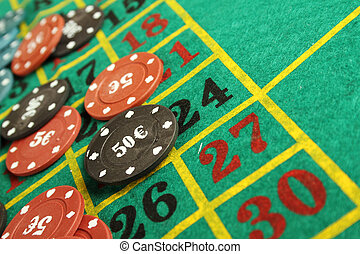 Casino roulette chips - Close up of casino roulette table....