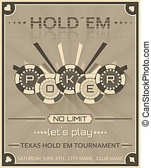 Poker background in retro style with poker chips. - Poker...