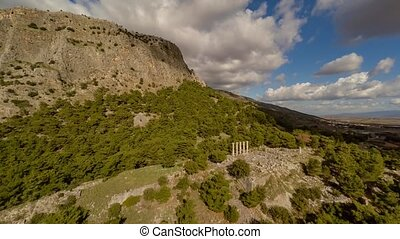 Aerial view at row of corinthian columns in the ancient city of Priene, Soke, Turkey. 4k.