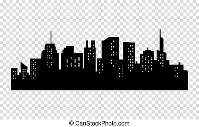 Black and white sihouette of big city skyline. - Black and...