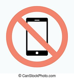 Vector no cell phone sign Smartphone icon