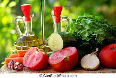 Oil, vinegar and vegetables.