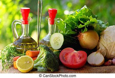 Oil, vinegar and vegetables