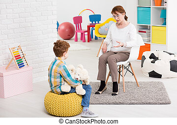 Talk instead of reproaching - Therapy session classroom with...