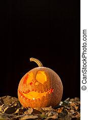 Jack-o-lantern on a black background - Shot of a scary...