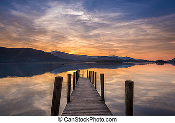Sunset Derwent Water - The sun setting over a calm Derwent...