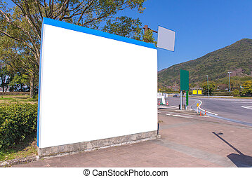 large blank billboard or road sign on highway