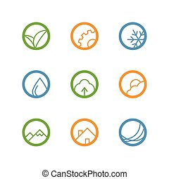 Round vector outline icon set - leaves, gear, drop,...