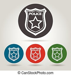 Flat police badge icon set - Police badge symbol set. Flat...