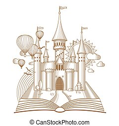World of tales, fairy castle appearing from the old book, cartoon vector illustration