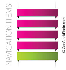 modern pink navigation items on white background vector