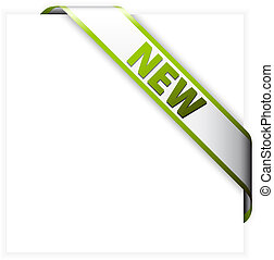 New white corner ribbon with green border and place for your...