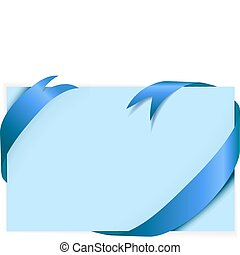 Blue ribbon around blank light blue paper (where you should...