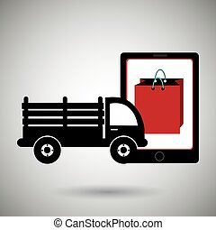 truck stake delivery vector illustration eps 10