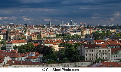 Panorama of Prague Old Town with red roofs timelapse, famous...
