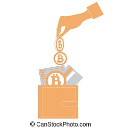 Stylized icon of a colored hand pouring bitcoins into wallet with money bill, credit card and Bitcoin