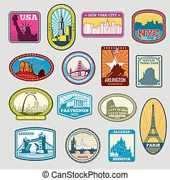 World famous monuments and landmarks vector labels, emblems