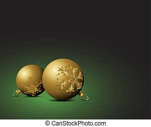 Christmas card - Golden bulbs with snowflakes ornaments