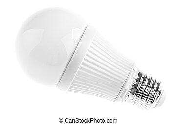 Led lightbulb on white - a white led lightbulb isolated over...