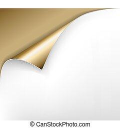 golden paper with a curl - Sheet of golden paper with a curl
